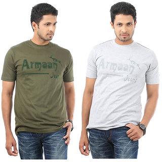Armaan Mens Bottle Green & Grey T-Shirts Combo For Men