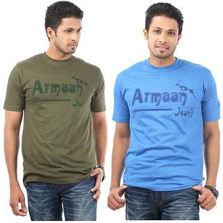 Armaan Mens Bottle Green & Blue T-Shirts Combo For Men