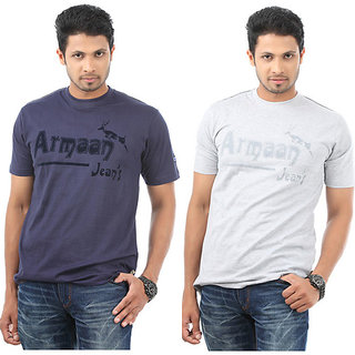 Armaan Mens Navy & Grey T-Shirts Combo For Men
