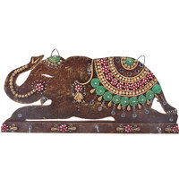 Shree Sugandh Wooden Key Holder In Elephant Style With Handcrafted Work