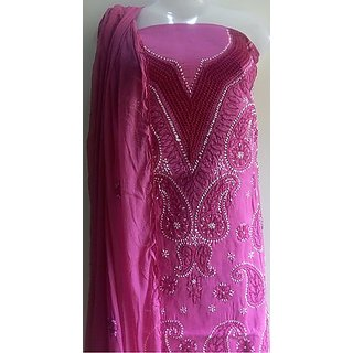 Lucknow Chikan Handmade Embroidery Ladies Party Wear Dress Material