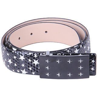 Black Buck Men, Boys Casual White, Black Genuine Leather Belt  (Black, White)