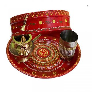 Well-designed Multicolored Om Pooja Thali Set For Karwachauth Festival