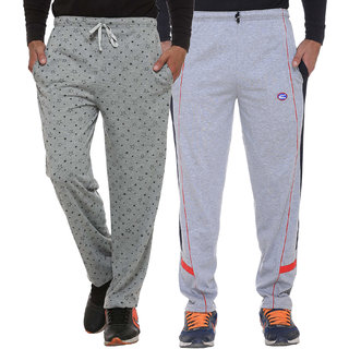Vimal-Jonney Multicolor Print And Plain Cotton Trackpants For Men (Pack Of 2)