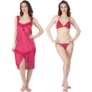 Bombshell Pink Satin Short Nighty  with Lingerie 3pc Set