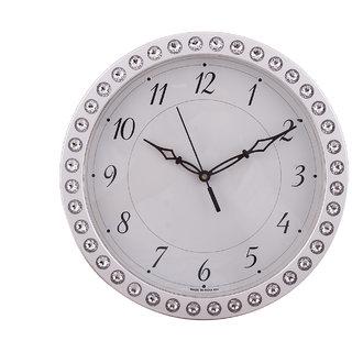 eCraftIndia Shining Crystals Round Silver Wall Clock