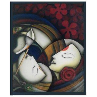 Handmade Radha krishna Abstract oil  Painting