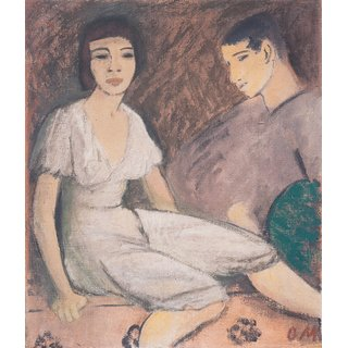 The Museum Outlet - Otto Mueller - Paar mit grunem Facher - ca1913 - Poster Print Online Buy (30 X 40 Inch)