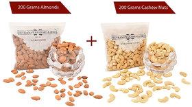 Shivram Peshawari  Bros Combo of Cashew Nut and Almonds 200 Grams Each