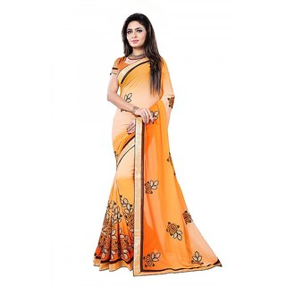 Designer,wedding,chiffon Embroidered  Dobule Color Orange And Beige Saree With Lace Border Unstitched Blouse Piece