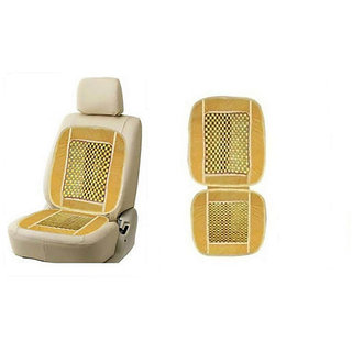 Wooden Bead Seat With Velvet Border Beige colour For All Cars