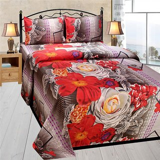 Homefab India 3d Double Bed Sheet With 2 Pillows Cover (DREAMS117)