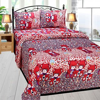 Homefab India 3d Double Bed Sheet With 2 Pillows Cover (DREAMS118)