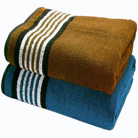 BpitchPyaarTouch Large Bath Towels (Set of 2) (70X140Cm)-450Gsm - Brown / M.Blue