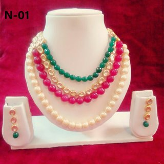 Alloy white golden pearl necklace set