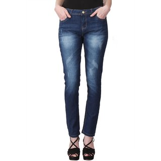 KOTTY  Blue Ripped Stone Washed Jeans