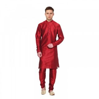 Red colour woven kurta pajama