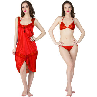 Bombshell Red Satin Short Nighty  with Lingerie 3pc Set