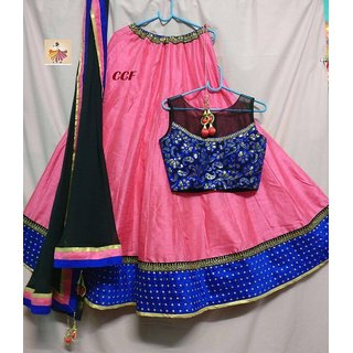 CCF Woman Peach and Blue Lehenga Choli