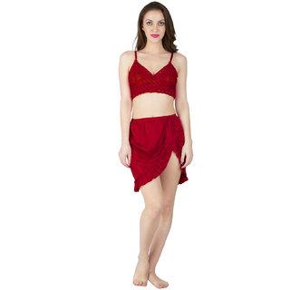 4a3178197d Bombshell Maroon Satin Nightwear 6pcs Set of Long Short Nighty Robe Skirt  Bra Thong
