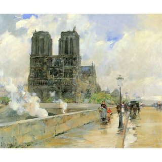 The Museum Outlet - Cathedral of Notre Dame, 1888 by Hassam - Poster Print Online Buy (24 X 32 Inch)