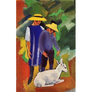 The Museum Outlet - Children with goat by August Macke - Poster Print Online Buy (24 X 32 Inch)