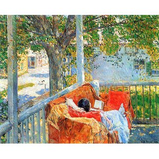 The Museum Outlet - Couch and Veranda at Cos Cob by Hassam - Poster Print Online Buy (24 X 32 Inch)