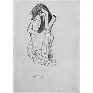 The Museum Outlet - Crouching from the front by Klimt - Poster Print Online Buy (24 X 32 Inch)
