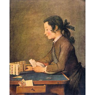 The Museum Outlet - House of Cards by Jean Chardin - Poster Print Online Buy (24 X 32 Inch)