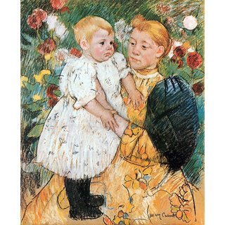 The Museum Outlet - In the garden by Cassatt - Poster Print Online Buy (24 X 32 Inch)