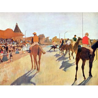 The Museum Outlet - Jockeys in front of the grandstand by Degas - Poster Print Online Buy (24 X 32 Inch)