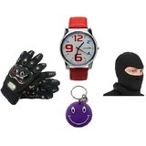 Combo Of Pro Biker Gloves Morelife Watch  Red, Face Mask Free Smiley Key Chain
