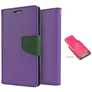 Lenovo A1000 WALLET FLIP CASE COVER (PURPLE) With MEMORY CARD READER