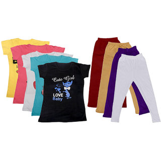 IndiWeaves Girls Cotton Leggings With T-Shirts(Pack of 4 Legging and 5 T-Shirts )Multi-ColouredMulti-ColouredPurple30