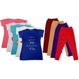 IndiWeaves Girls Cotton Leggings With T-Shirts(Pack of 4 Legging and 5 T-Shirts )Multi-ColouredBeigePurpleRed30