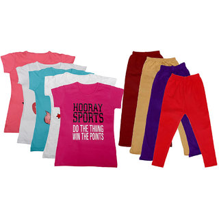 IndiWeaves Girls Cotton Leggings With T-Shirts(Pack of 4 Legging and 5 T-Shirts )PinkMulti-Coloured30