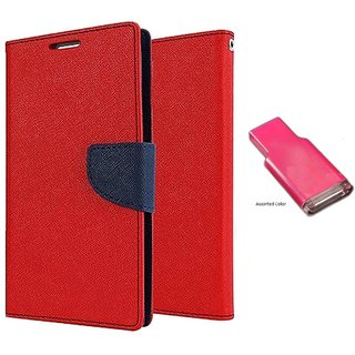 Micromax Bolt D320 WALLET FLIP CASE COVER (RED) With MEMORY CARD READER