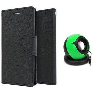 Micromax Bolt Q336 WALLET FLIP CASE COVER (BLACK) With SPEAKER