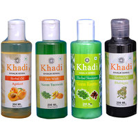Khadi 1 Apricot, 1 Bhringraj Oil And 1 Neem Turmrice Face Wash And 1 Neem Reetha Shampoo Combo