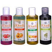 Khadi 1 Strawberry Face Wash And 1 Apricot, 1 Bhringraj Oil And 1 Lemon Honey Body Wash  Combo