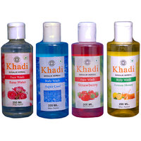 Khadi 1 Rose Water, 1 Strawberry Face Wash And 1 Aqua Coo, 1 Lemon Honey Body Wash  Combo