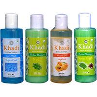Khadi 1 Aqua Cool Face Wash And 1 Neem, 1 Neem Reetha Shampoo And 1 Apricot Oil  Combo