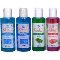 Khadi 1 Aqua Cool, 1 Strawberry  Face Wash And 1 Aqua Cool, 1 Neem Body Wash  Combo