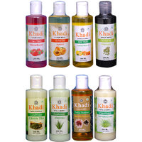 Khadi 1 Strawberry Face Wash And 1 Apricot, 1 Bhringraj  Oil And 1 Lemon  Honey Body Wash And 1 Green Tea, 1 Lemon Grass, 1 Aloevera Conditioner, 1 Saffron Reetha Protein Shampoo Combo