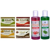 Khadi 1 Lemon Grass 1 Strawberry 1 Lemon Fresh 1 Caco Vanila Soap And 1 Strawberry Face Wash And 1 Neem Body Wash Combo