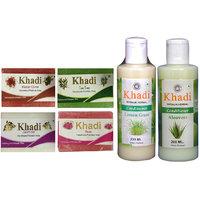 Khadi 1 Kaser Olive 1 Tea Tree 1 Jasmine 1 Rose Soap And 1 Lemon Grass 1 Aloevera Conditioner   Combo