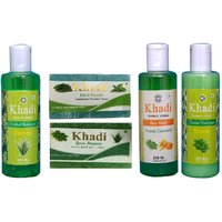 Khadi 1 Aloevera 1 Neem Shampoo And 1 Neem Turmeric Face Wash And 1 Mint Fresh 1 Neem Soap  Combo