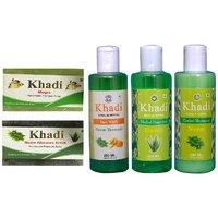 Khadi 1 Mogra 1 Neem Aloevera Scrub Soap And 1 Neem Turmeric Face Wash And 1 Aloevera 1 Neem Shampoo Combo