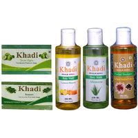 Khadi 1 Green Apple 1 Neem Soap And 1 Lemon Honey 1 Aloever Body Wash And 1 Suffor Reetha Protein Shampoo Combo