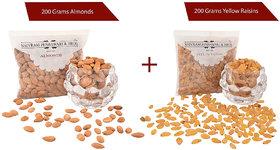 Shivram Peshawari  Bros Combo of Almonds and Yellow Raisins 200 Grams Each